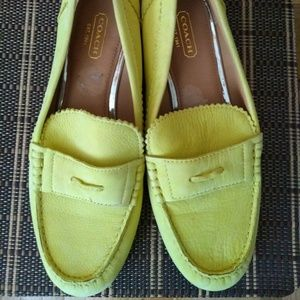 Coach loafers 8 B yellow green color